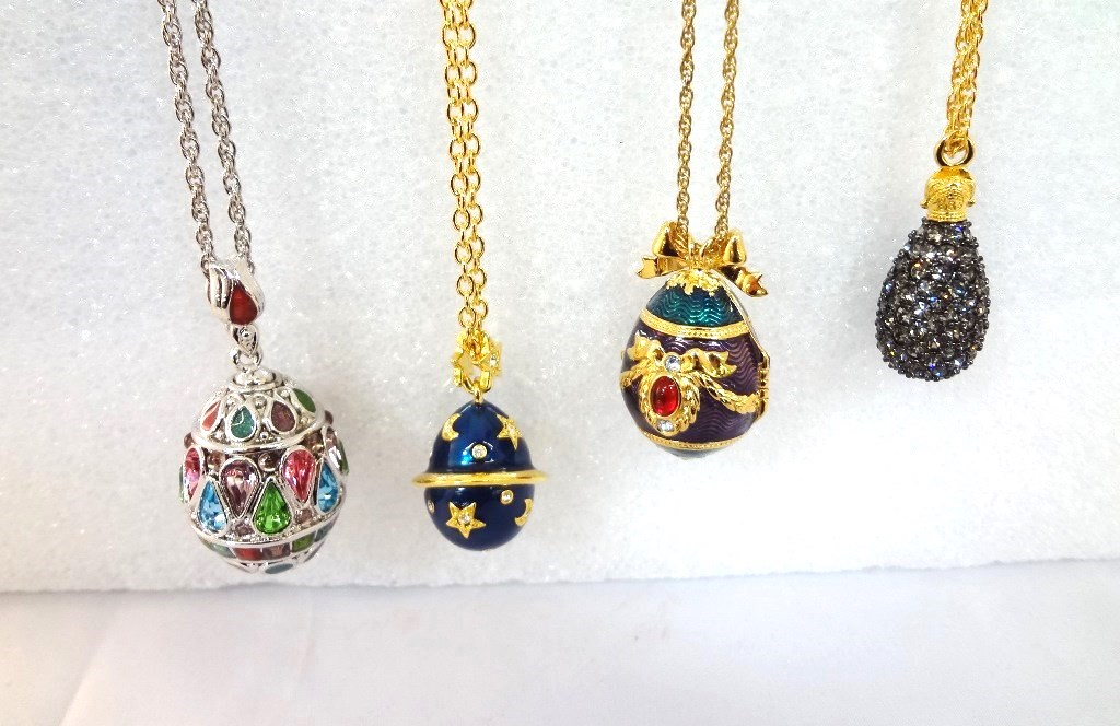 Lot detail 4 joan rivers faberge egg necklaces with egg pendants 4 joan rivers faberge egg necklaces with egg pendants aloadofball Gallery