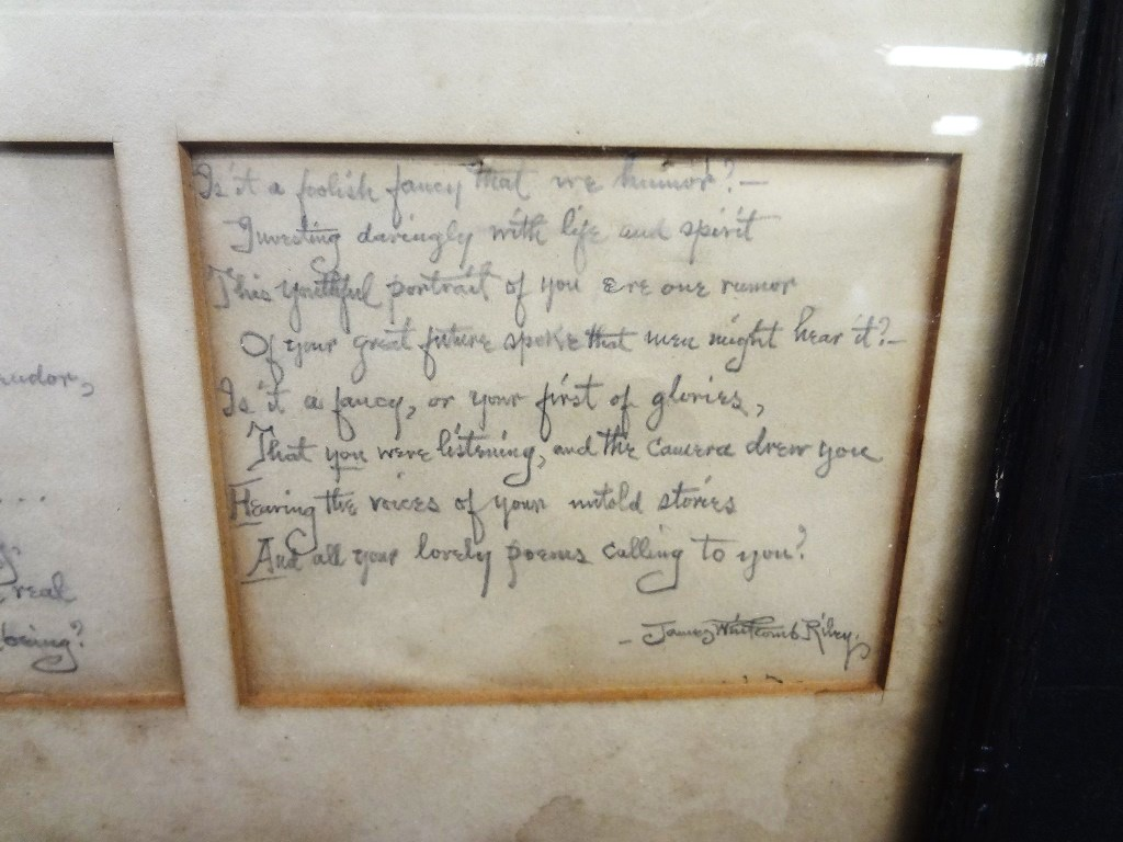 Lot Detail - James Whitcomb Riley Full Hand Written Poem Signed by ...