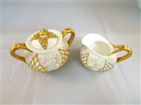 Lotus Ware Knowles Taylor Knowles Fishnet Creamer and Sugar