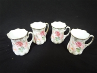 (4) R.S. Prussia Demitasse Cups Hand Painted Early Red Mark