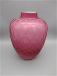 Cranberry Quilted Cased Glass Vase
