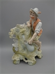 German Bisque Porcelain Figural Group Boy Getting Water